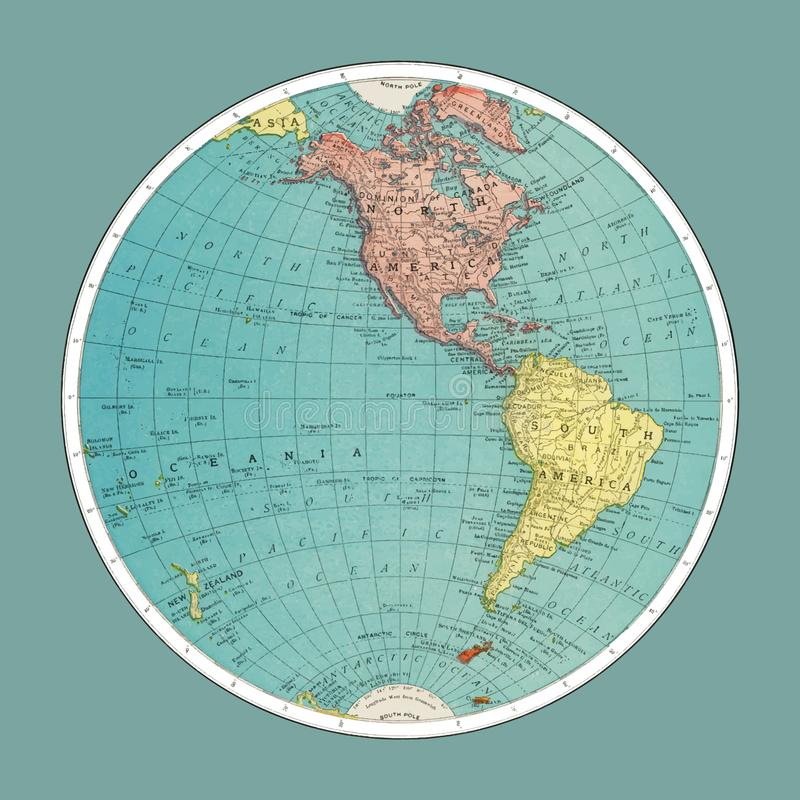 Δυτικό ημισφαίριο, παγκόσμιος άτλαντας από την άκρη, McNally και κοβάλτιο 1908 ψηφιακά ενισχυμένος από το rawpixel απεικόνιση αποθεμάτων