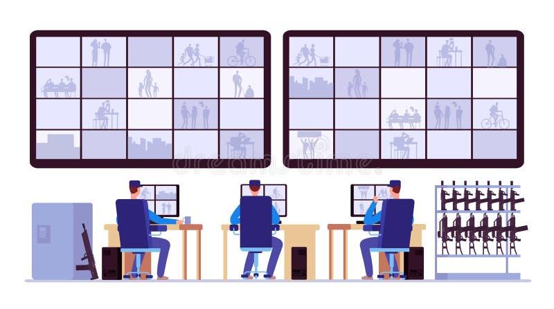 Δωμάτιο ασφάλειας Οι επαγγελματίες που ελέγχουν στον έλεγχο στρέφονται με τα όργανα ελέγχου CCTV διανυσματική απεικόνιση