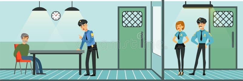 Δωμάτιο για να εξετάσει έναν ύποπτο σε ένα αστυνομικό τμήμα, αστυνομικοί στην εργασία, εσωτερική διανυσματική απεικόνιση Αστυνομι ελεύθερη απεικόνιση δικαιώματος