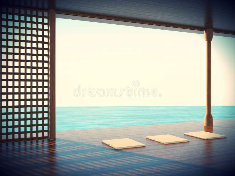 Δωμάτιο γιόγκας της Zen στο διάστημα παραλιακών περιοχών απεικόνιση αποθεμάτων