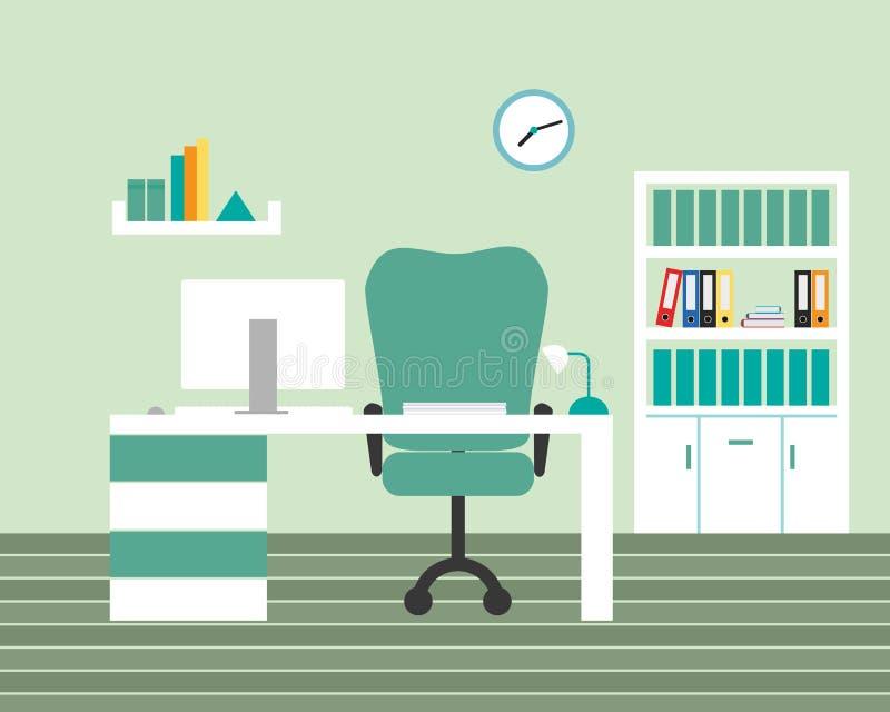 Δωμάτιο γραφείων με τους πράσινους τοίχους και τα άσπρα έπιπλα, με τον υπολογιστή, απεικόνιση αποθεμάτων