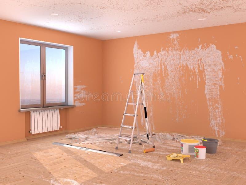 δωμάτιο επισκευής Ζωγραφική και επικονίαση των τοίχων διανυσματική απεικόνιση