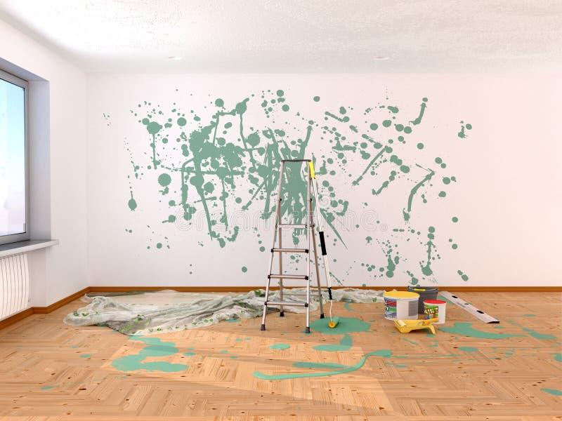 δωμάτιο επισκευής Ζωγραφική στο πράσινο χρώμα διανυσματική απεικόνιση