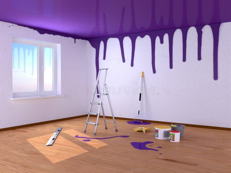 δωμάτιο επισκευής Χρώματα ψεκασμού τρισδιάστατη απεικόνιση απεικόνιση αποθεμάτων