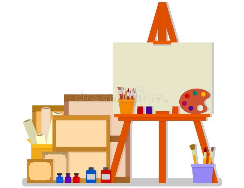 Δωμάτιο εργαστηρίων με easel και εργαλεία για τη ζωγραφική σχεδίου τέχνης ελεύθερη απεικόνιση δικαιώματος
