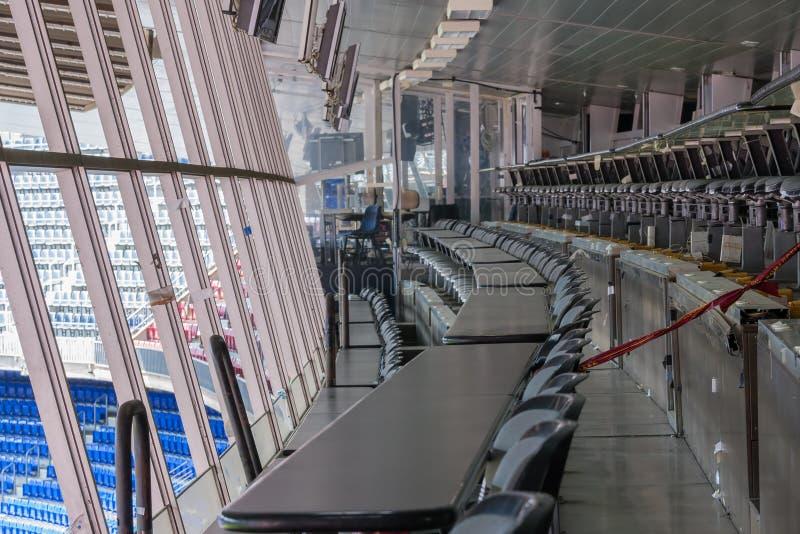 Δωμάτιο δημοσιογράφων στο στρατόπεδο Nou σταδίων της λέσχης Βαρκελώνη ποδοσφαίρου στοκ εικόνα