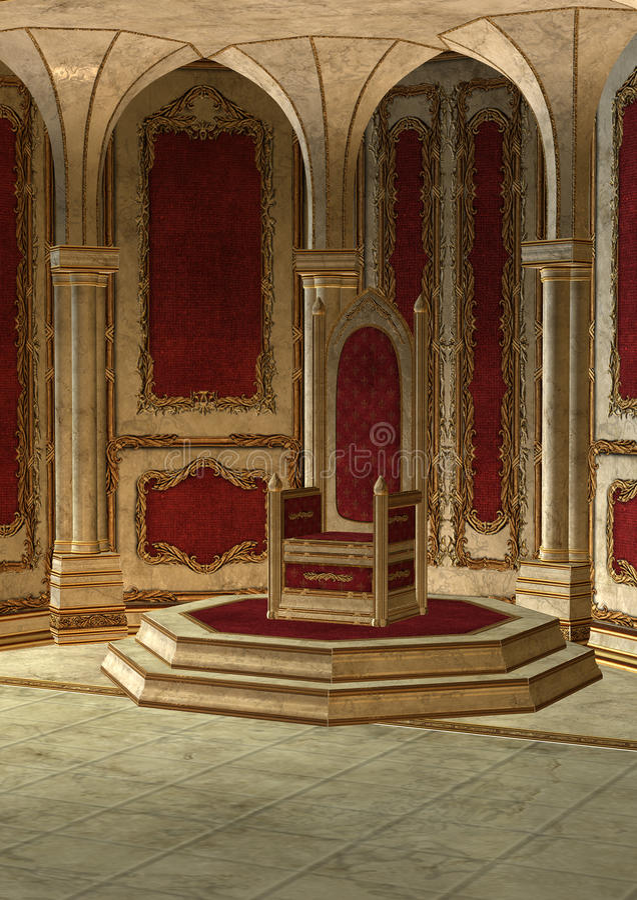 Δωμάτιο θρόνων παραμυθιού διανυσματική απεικόνιση