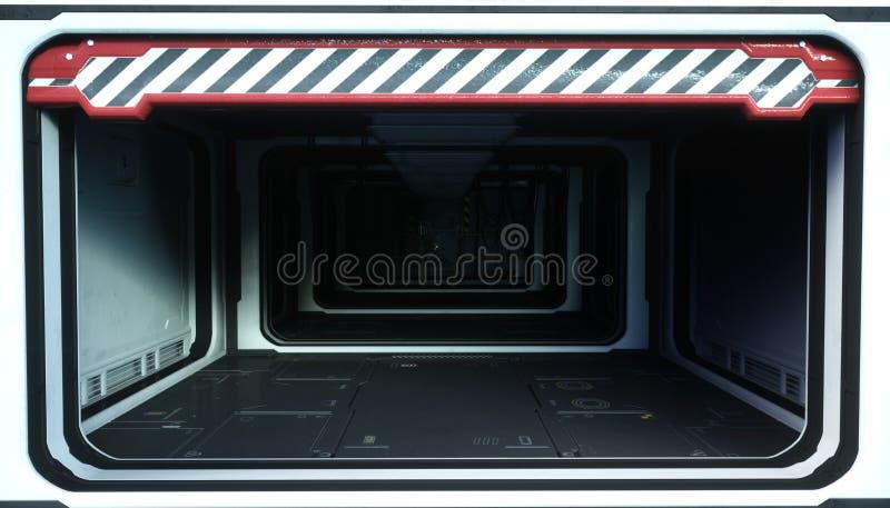 Δωμάτιο διαστημοπλοίων, διάδρομος Φουτουριστική άποψη της γης τρισδιάστατη απόδοση απεικόνιση αποθεμάτων
