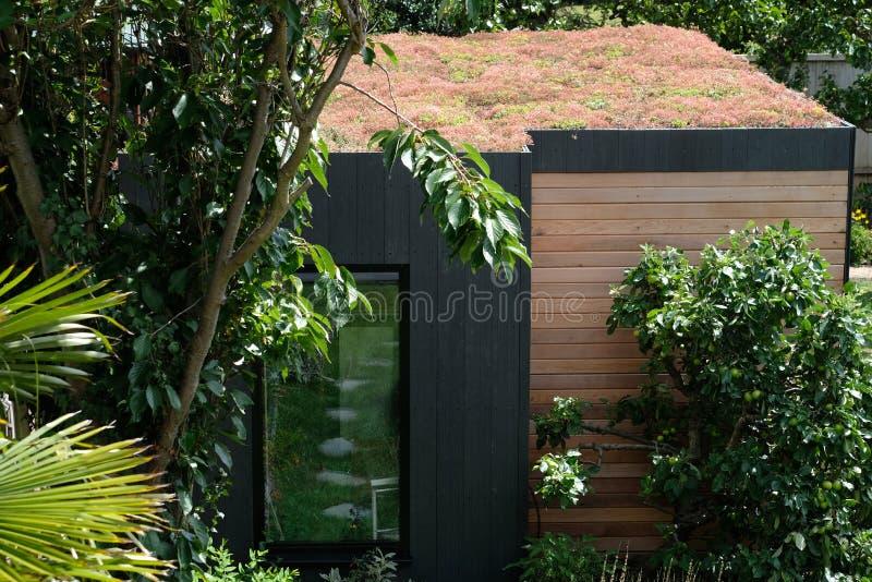 Δωμάτιο κήπων, πράσινη υποχώρηση με φιλικού, sedum διαβίωσης μελισσών τη στέγη στον καλά εφοδιασμένο, ώριμο κήπο στοκ φωτογραφία με δικαίωμα ελεύθερης χρήσης