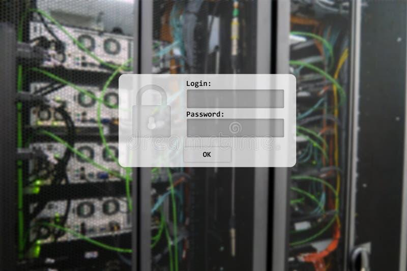Δωμάτιο κεντρικών υπολογιστών, σύνδεση και αίτημα κωδικού πρόσβασης, πρόσβαση στοιχείων και ασφάλεια στοκ εικόνες με δικαίωμα ελεύθερης χρήσης