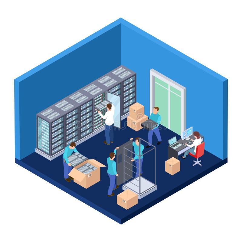 Δωμάτιο κεντρικών υπολογιστών isometric Τρισδιάστατη διανυσματική απεικόνιση μηχανικών κεντρικών υπολογιστών τεχνολογίας πληροφορ απεικόνιση αποθεμάτων