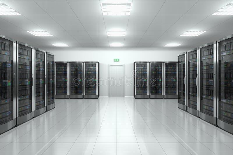 Δωμάτιο κεντρικών υπολογιστών στο datacenter διανυσματική απεικόνιση