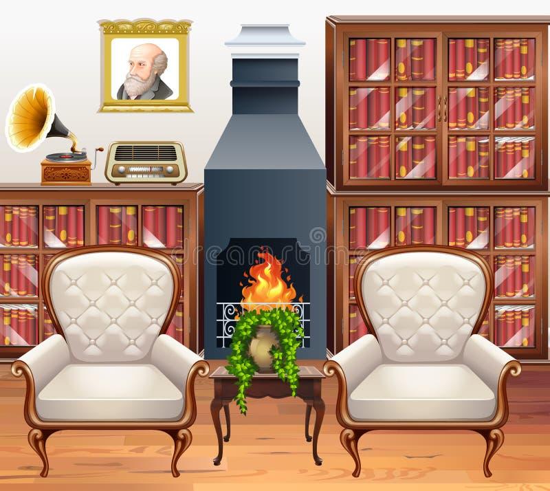 Δωμάτιο μελέτης με δύο πολυθρόνες διανυσματική απεικόνιση