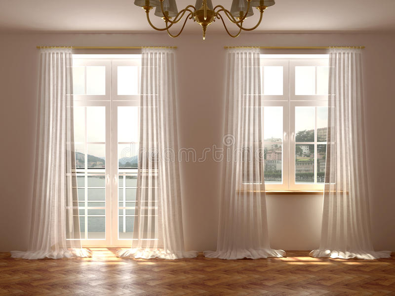 Δωμάτιο με τα παράθυρα και την πόρτα μπαλκονιών στοκ φωτογραφία με δικαίωμα ελεύθερης χρήσης