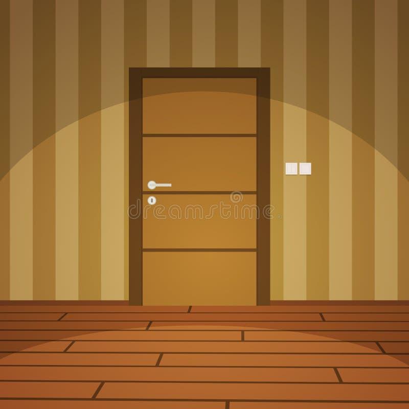 Δωμάτιο με την πόρτα - κίτρινη διανυσματική απεικόνιση