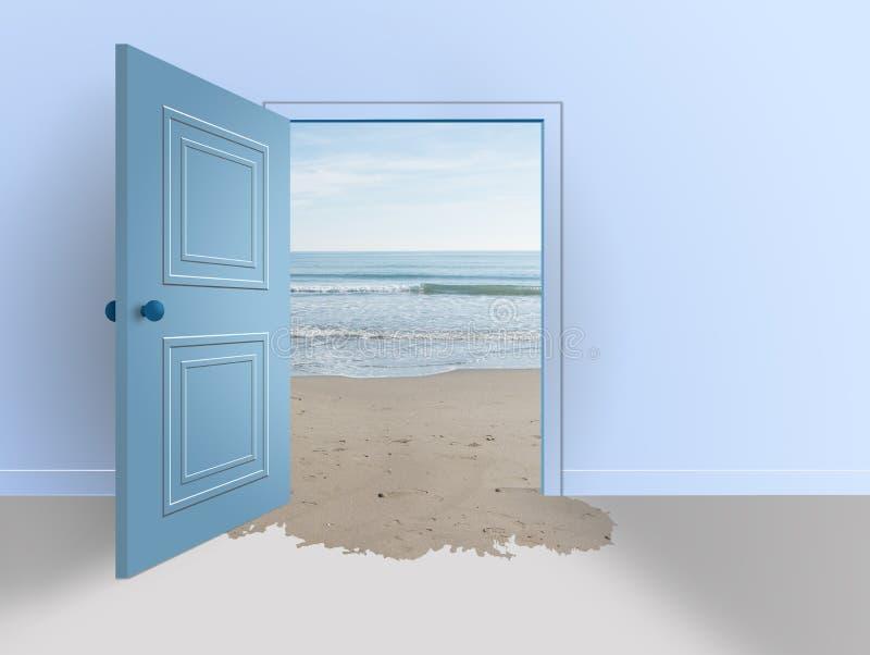 Δωμάτιο με τη ανοιχτή πόρτα Παραλία και θάλασσα στοκ φωτογραφίες με δικαίωμα ελεύθερης χρήσης