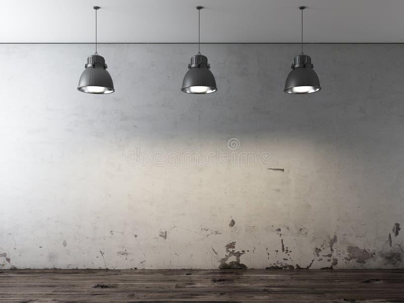Δωμάτιο με τους ανώτατους λαμπτήρες και grunge τον τοίχο απεικόνιση αποθεμάτων