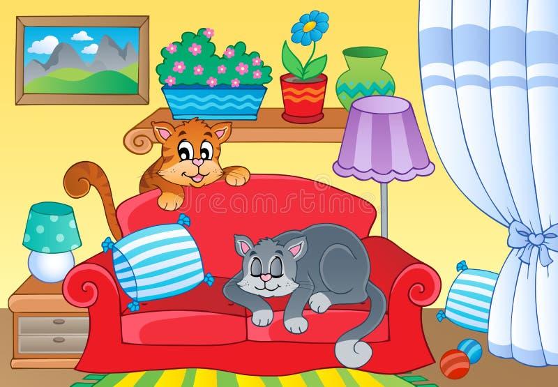Δωμάτιο με δύο γάτες στον καναπέ διανυσματική απεικόνιση