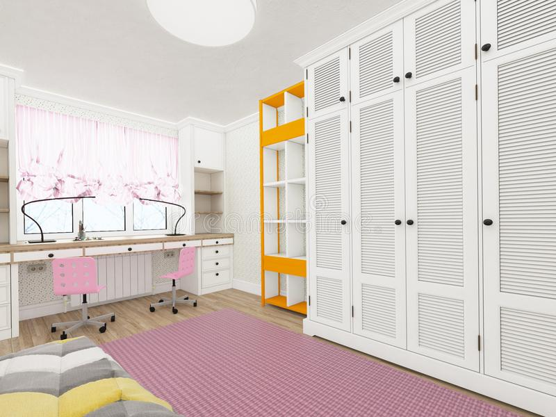 Δωμάτιο μικρών κοριτσιών ` s - σύγχρονο και άνετο σχέδιο τρισδιάστατη απόδοση στοκ εικόνες