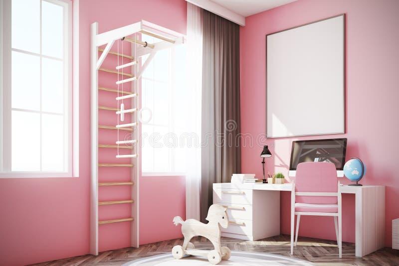 Δωμάτιο μωρών s με έναν υπολογιστή, μια σκάλα, ροζ απεικόνιση αποθεμάτων