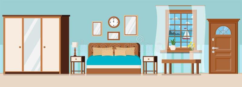Δωμάτιο ξενοδοχείου με τα έπιπλα, πόρτα, άποψη παραθύρων του τοπίου θάλασσας με sailboat ελεύθερη απεικόνιση δικαιώματος