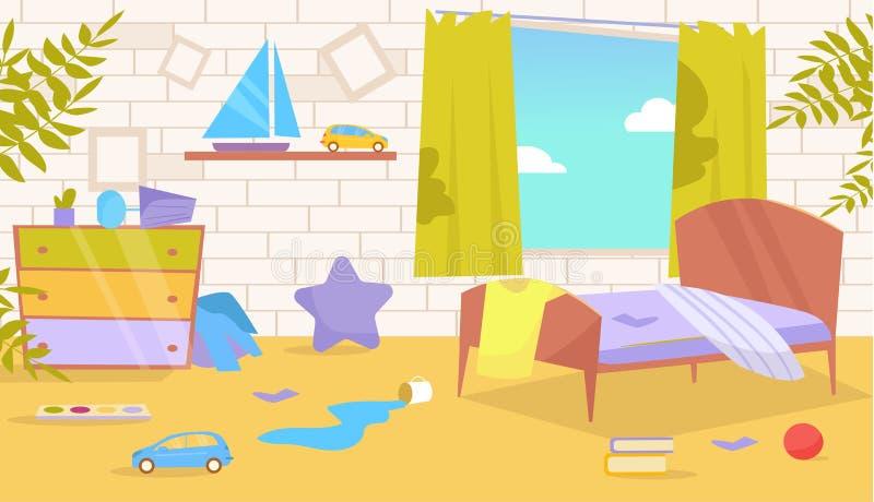 Δωμάτιο παιδιών ` s Βρώμικο, ακατάστατο διάνυσμα cartoon Απομονωμένη τέχνη στο άσπρο υπόβαθρο απεικόνιση αποθεμάτων