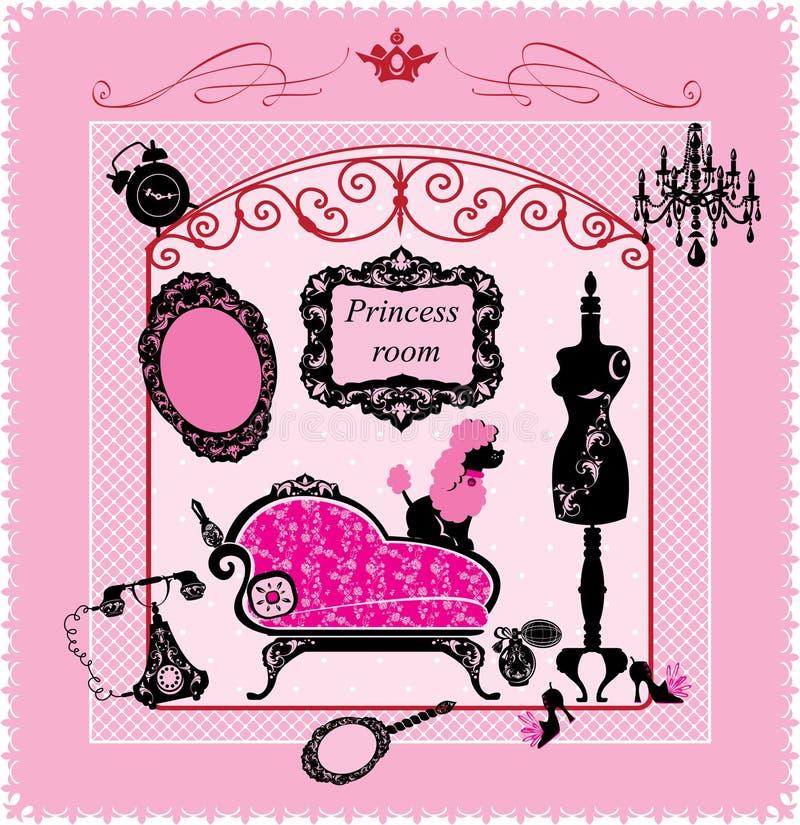 Δωμάτιο πριγκηπισσών - απεικόνιση για τα κορίτσια διανυσματική απεικόνιση