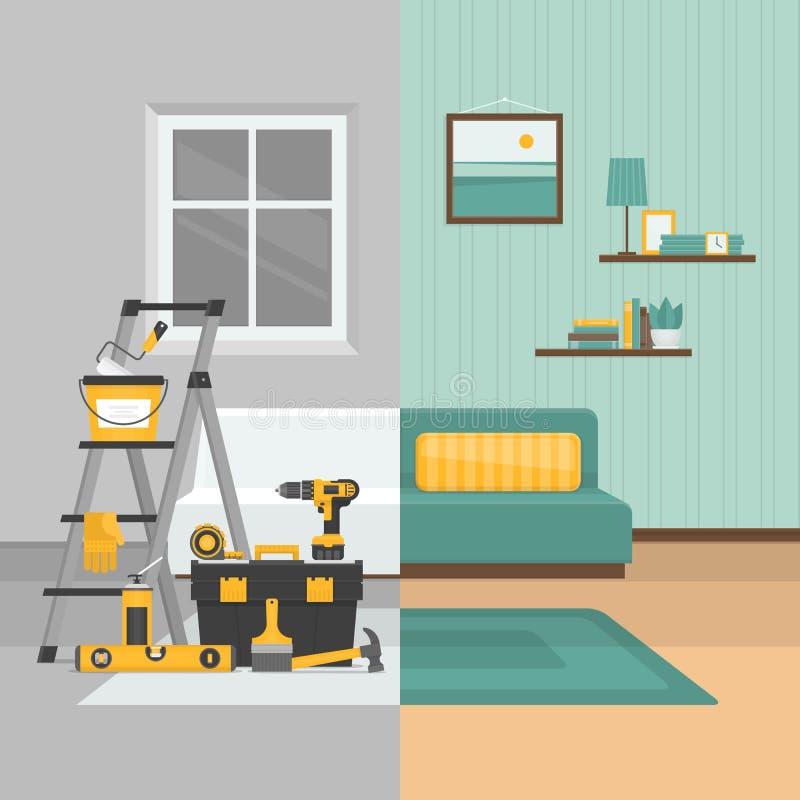 Δωμάτιο πριν και μετά από την επισκευή Εγχώρια εσωτερική ανακαίνιση Επίπεδο sty διανυσματική απεικόνιση