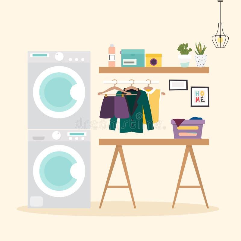 Δωμάτιο πλυντηρίων με τις εγκαταστάσεις για την πλύση Μηχανή πλυσίματος, flasket, διανυσματική απεικόνιση