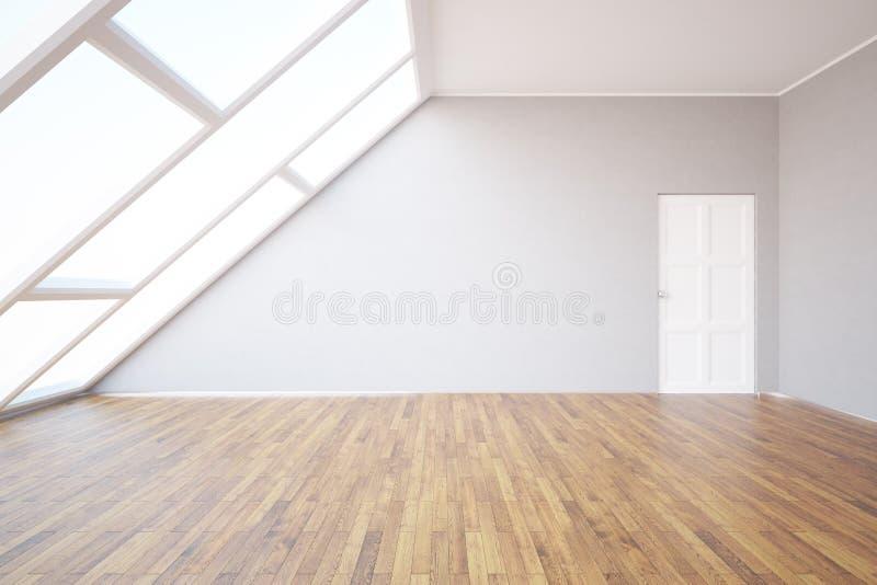 Δωμάτιο σοφιτών με τον κενό τοίχο στοκ εικόνα με δικαίωμα ελεύθερης χρήσης