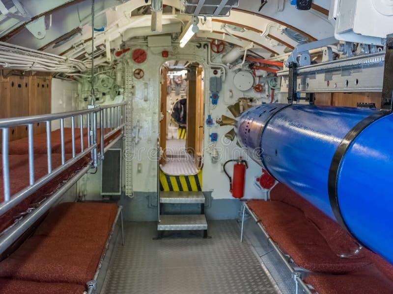 Δωμάτιο τορπιλών σε ένα υποβρύχιο στοκ φωτογραφίες με δικαίωμα ελεύθερης χρήσης
