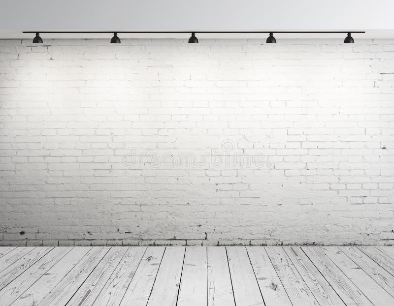 Δωμάτιο τούβλου με το λαμπτήρα στοκ φωτογραφία με δικαίωμα ελεύθερης χρήσης