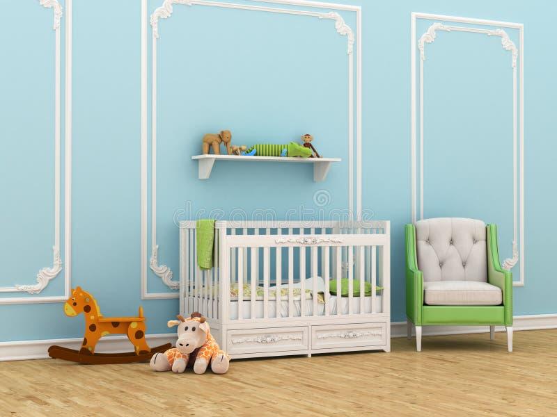 Δωμάτιο των κλασικών παιδιών με ένα παχνί, μια καρέκλα και τα παιχνίδια ελεύθερη απεικόνιση δικαιώματος