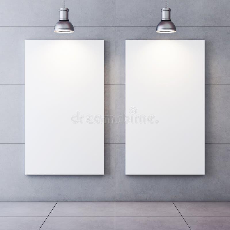 Δωμάτιο Oncrete με τα αναμμένα κενά canvases απεικόνιση αποθεμάτων