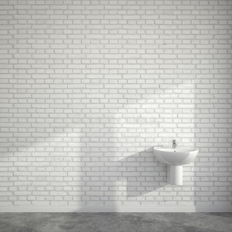 Δωμάτιο WC με τη λεκάνη πλυσίματος στον κενό τοίχο των τούβλων απεικόνιση αποθεμάτων
