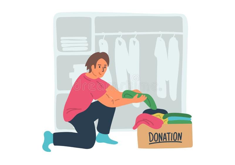 Δωρεά ενδυμάτων Νεαρός άνδρας που βάζει τα ενδύματα στο κιβώτιο δωρεάς απεικόνιση αποθεμάτων
