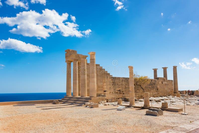 Δωρικός ναός Αθηνάς Lindia στην ακρόπολη Lindos Ρόδος, GR στοκ φωτογραφία