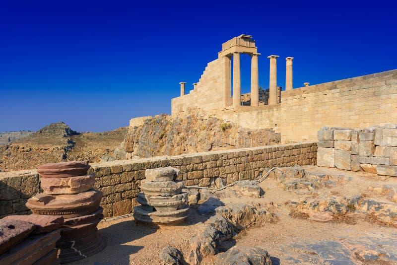 Δωρικός ναός Αθηνάς Lindia στην ακρόπολη Lindos Ρόδος, GR στοκ εικόνα με δικαίωμα ελεύθερης χρήσης