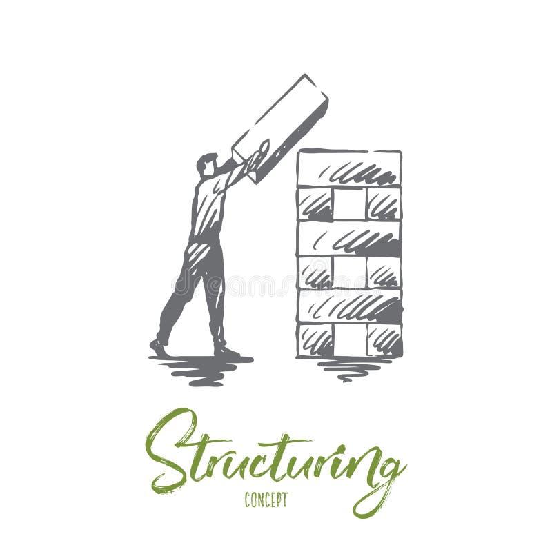 Δόμηση, στοιχείο, οργάνωση, εταιρική έννοια Συρμένο χέρι απομονωμένο διάνυσμα ελεύθερη απεικόνιση δικαιώματος