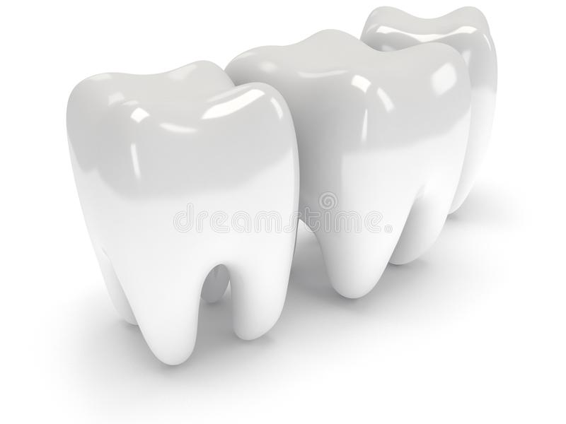 Δόντια που απομονώνονται στην άσπρη πλάτη. απεικόνιση αποθεμάτων
