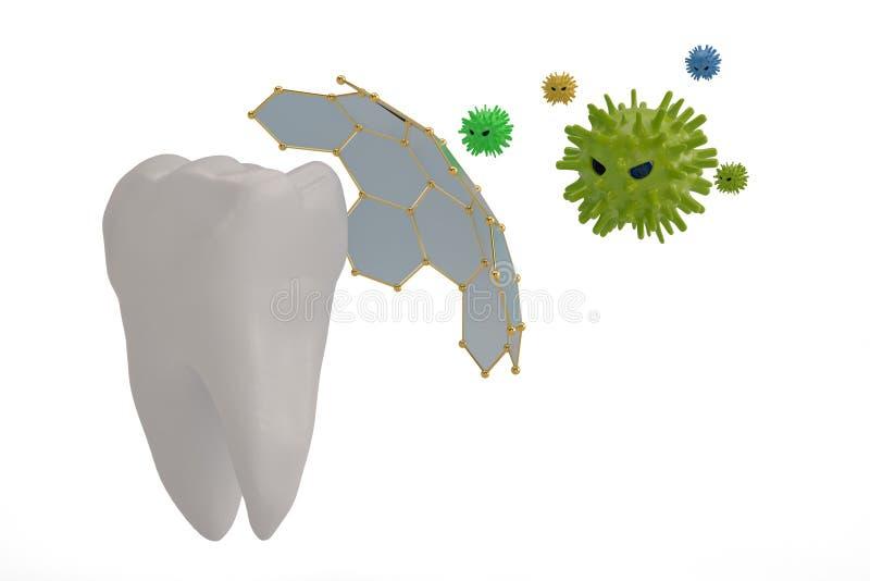Δόντι έννοιας προστασίας δοντιών και τρισδιάστατη απεικόνιση ιών διανυσματική απεικόνιση