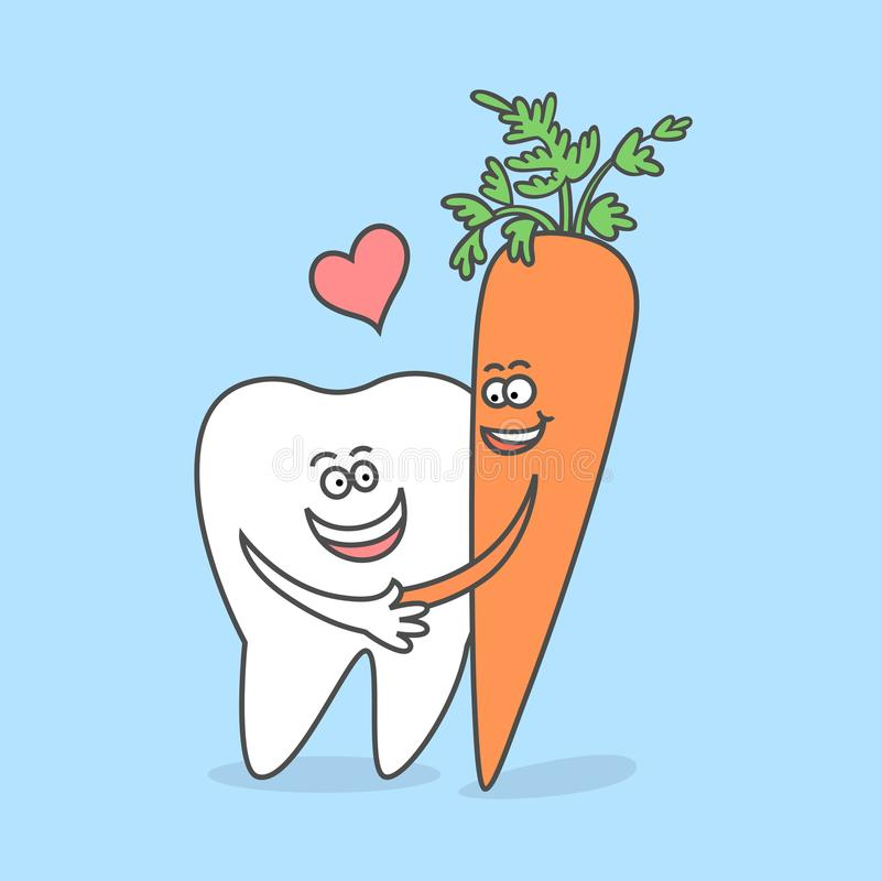 Δόντι κινούμενων σχεδίων με ένα καρότο Οδοντική έννοια προσοχής ελεύθερη απεικόνιση δικαιώματος