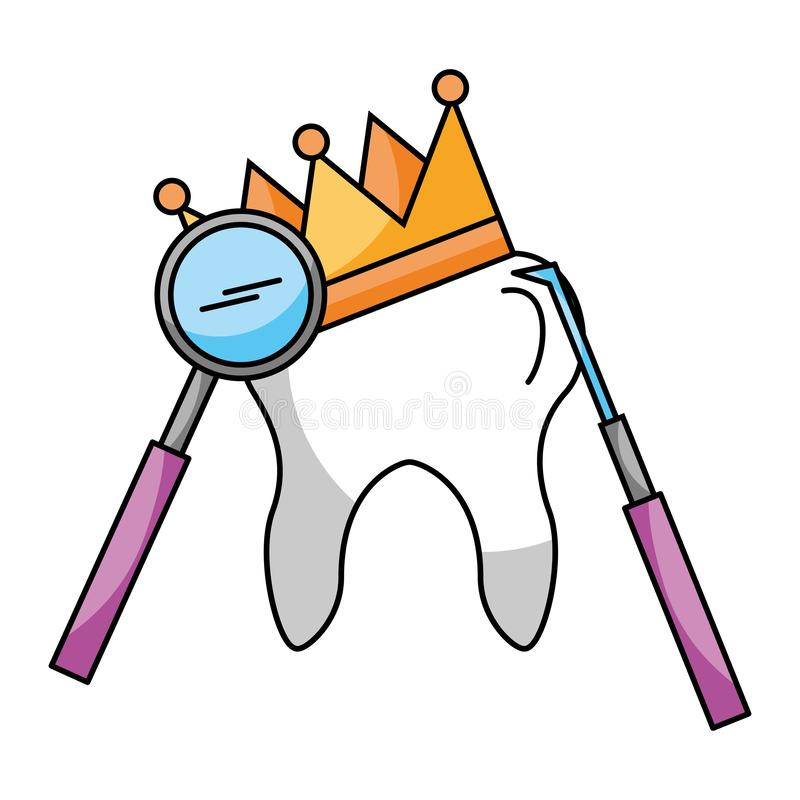 Δόντι με την οδοντική προσοχή κορωνών και υγιεινής εργαλείων απεικόνιση αποθεμάτων