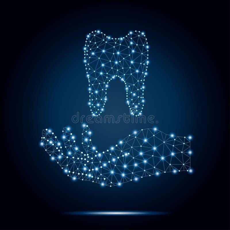 Δόντι πολυγώνων, ανθρώπινο χέρι, μπλε, αστέρια 2-1 στοκ εικόνα