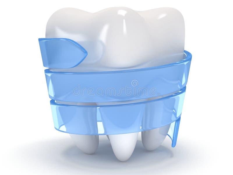 Δόντι στην άσπρη πλάτη. διανυσματική απεικόνιση