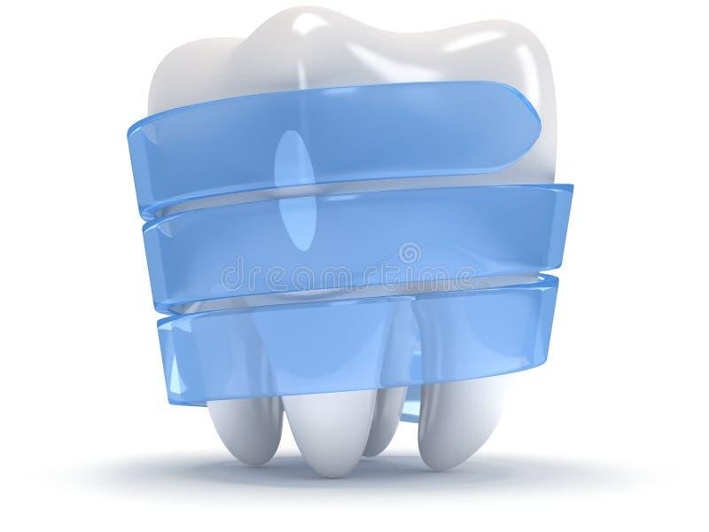 Δόντι στην άσπρη πλάτη. ελεύθερη απεικόνιση δικαιώματος