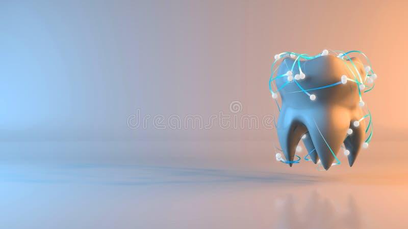 Δόντι - τρισδιάστατη απεικόνιση διανυσματική απεικόνιση