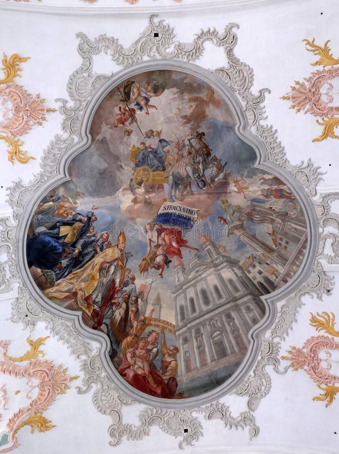 Δόξα Αγίου Francis Xavier, νωπογραφία στο ανώτατο όριο της εκκλησίας Jesuit του ST Francis Xavier σε Λουκέρνη στοκ φωτογραφία με δικαίωμα ελεύθερης χρήσης