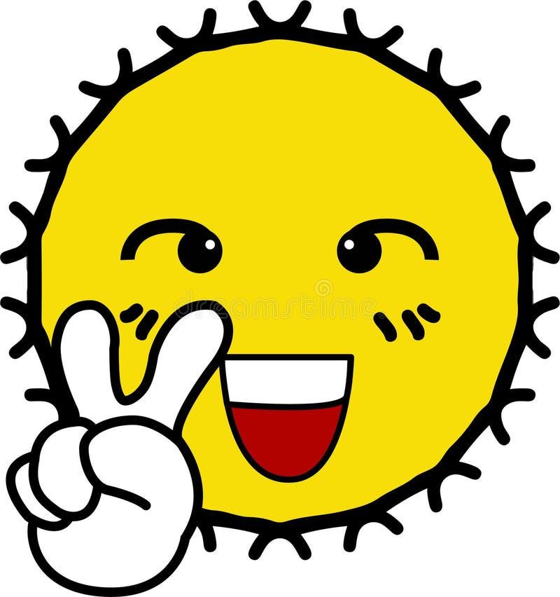 Δόξα εύθυμη με το χαμόγελο του κίτρινου ήλιου προσώπου ελεύθερη απεικόνιση δικαιώματος