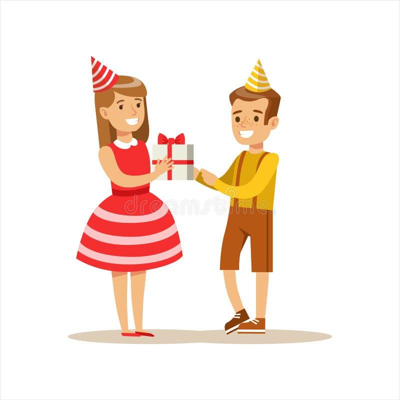 Δόσιμο αγοριών παρόν στο κορίτσι, σκηνή γιορτής γενεθλίων παιδιών με το χαμογελώντας χαρακτήρα κινούμενων σχεδίων διανυσματική απεικόνιση